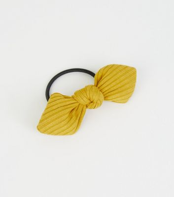 Mustard Ribbed Bow Hairband