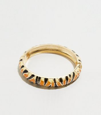 Brown Enamel Animal Print Bangle