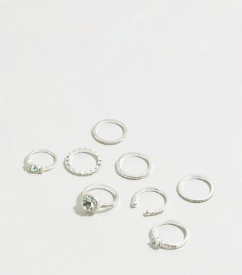 8 Pack Sliver Premium Diamanté Rings