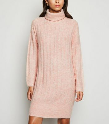 Pale Pink Roll Neck Jumper Dress by New Look