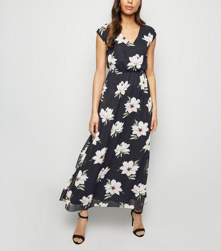 557d2952b2e Mela Black Floral Mesh Maxi Dress