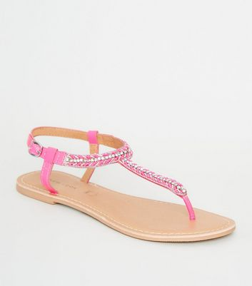 Bright Pink Leather Strap Diamanté and Bead Sandals
