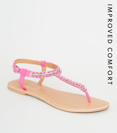 7f0787f4120f ... Bright Pink Leather Strap Diamanté and Bead Sandals ...