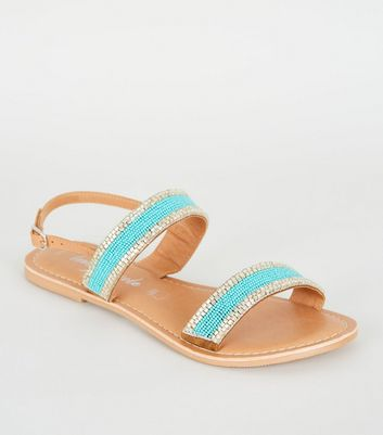 Teal 2 Part Beaded Strap Sandals
