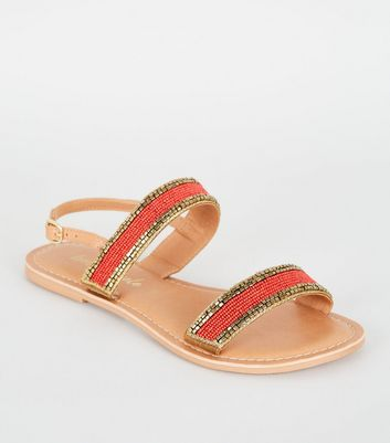 Orange 2 Part Beaded Strap Sandals