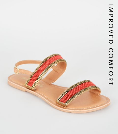 25c86ca3b9b ... Orange Leather Bead Strap Sandals ...