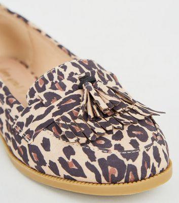 Stone Leopard Print Tassel Loafers