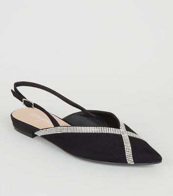 Black Suedette Diamanté Trim Slingbacks