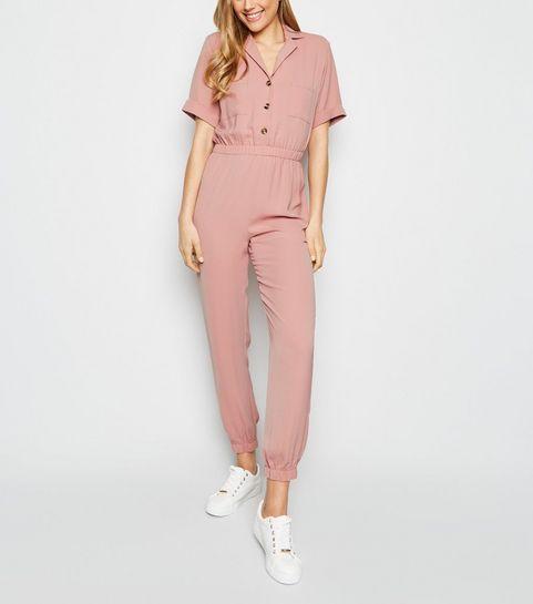 bcf8f34cc27c Pink Herringbone Cuffed Utility Jumpsuit · Pink Herringbone Cuffed Utility  Jumpsuit ...