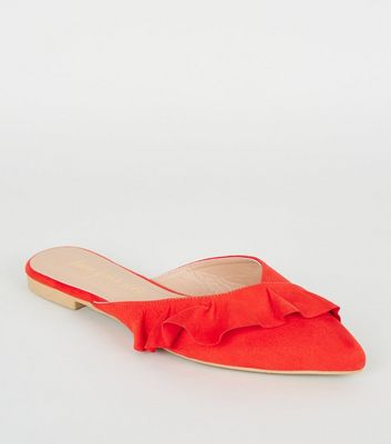 Red Suedette Frill Pointed Mules