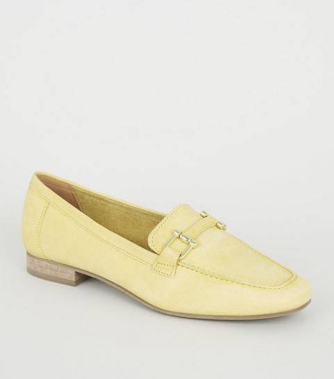 bbcc2dff8080 ... Yellow Leather Bar Front Loafers ...