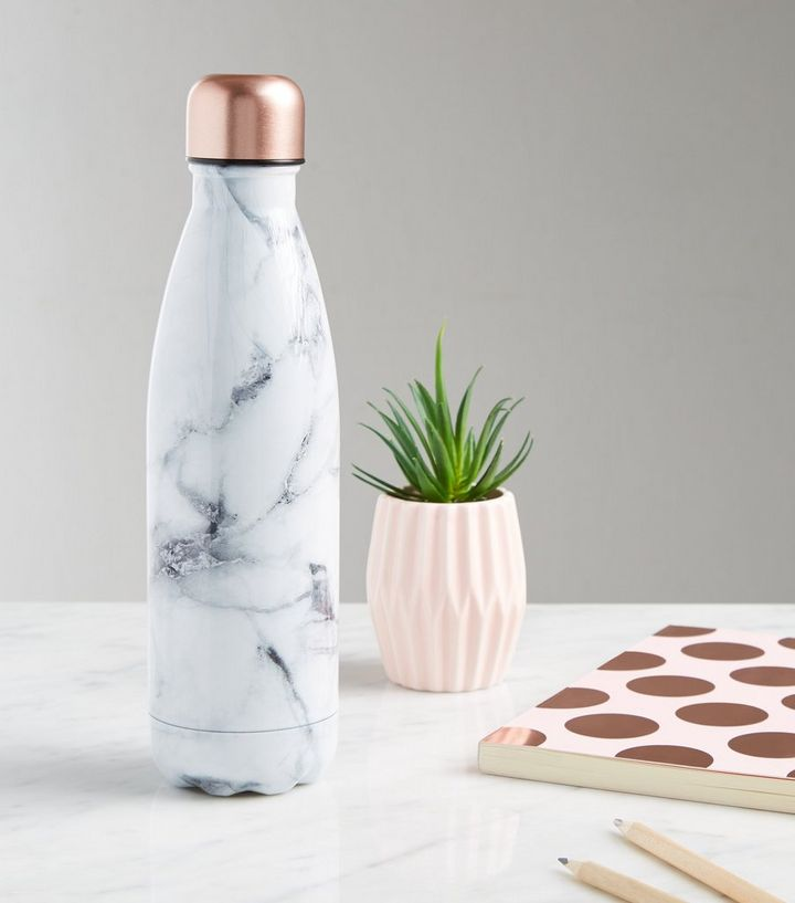 White Marble Effect 500ml Metal Bottle Add to Saved Items Remove from Saved  Items