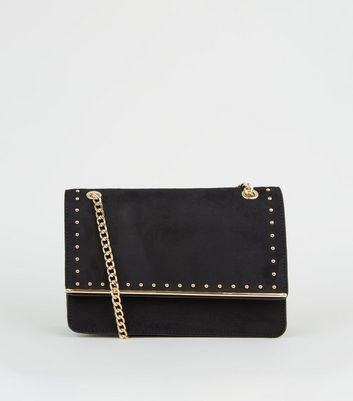 Black Suedette Studded Shoulder Bag
