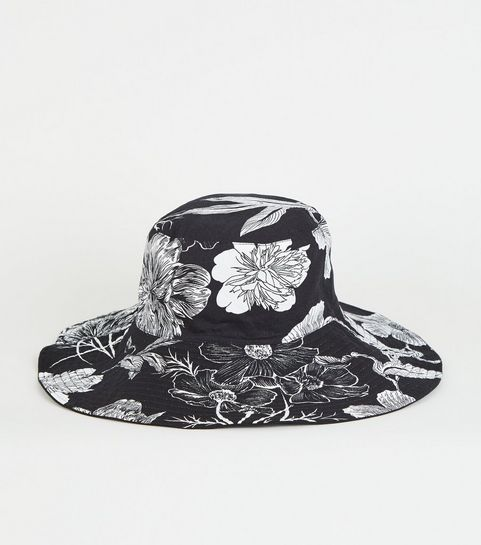 883274dc394 ... Black Floral Reversible Bucket Hat ...