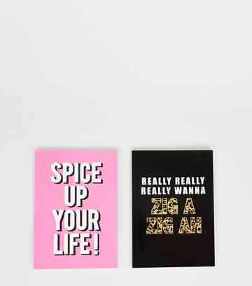 2 Pack Black and Pink Spice Slogan Notebooks