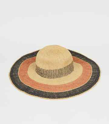 Brown Woven Straw Effect Stripe Hat