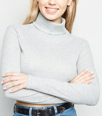 Cameo Rose Grey Roll Neck Crop Top