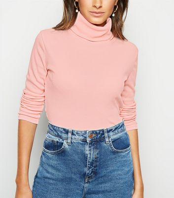 Cameo Rose Pink Roll Neck Crop Top