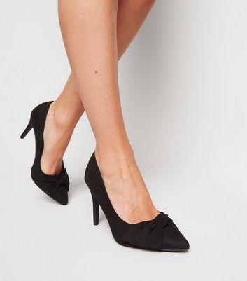 Black Suedette Bow Front Court Shoes