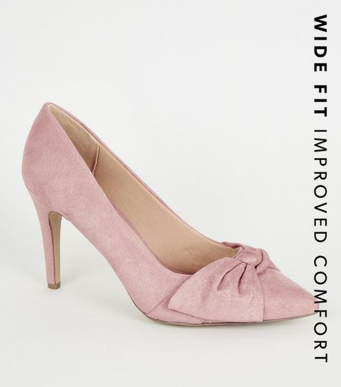 709aa62f5 ... Wide Fit Pink Suedette Bow Front Court Shoes ...