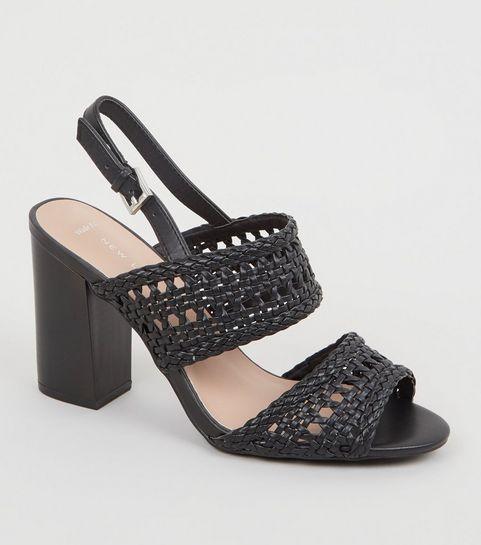 d6606a34b82762 ... Wide Fit Black Woven 2 Part Block Heels ...