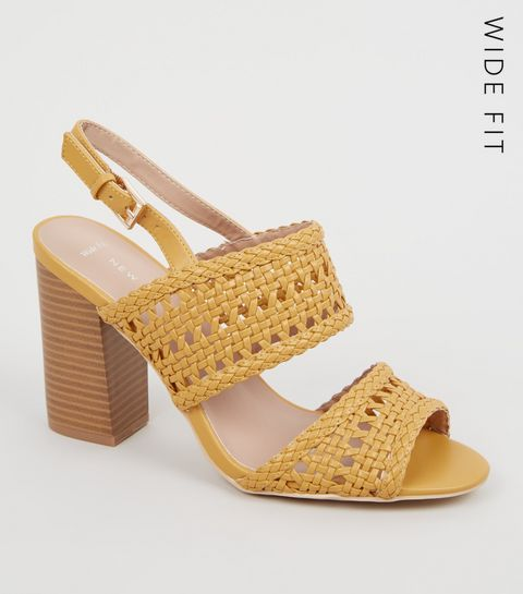 71f4edab3f3 ... Wide Fit Yellow Woven 2 Part Block Heels ...