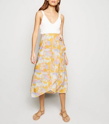 White Tie Dye Wrap Midi Skirt