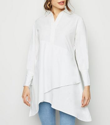 Innocence White Asymmetric Longline Shirt