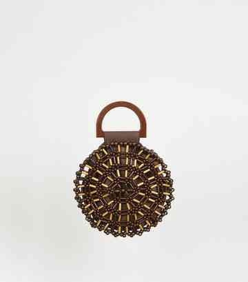 Dark Brown Beaded Round Bag