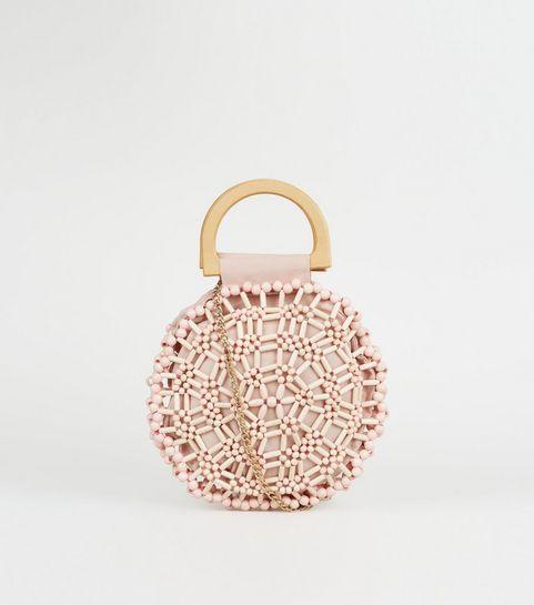 Pink Beaded Round Bag