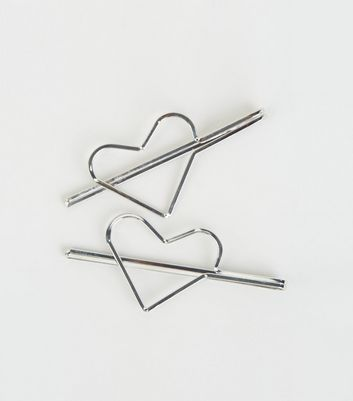 2 Pack Silver Heart Hair Clips