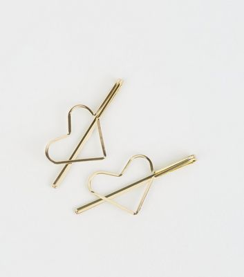 2 Pack Gold Heart Hair Slides