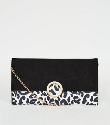 Black Leopard Print Ring Front Clutch