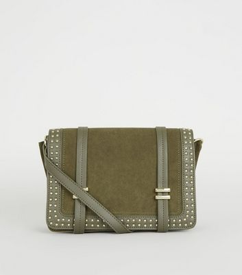 Khaki Suedette Studded Messenger Bag