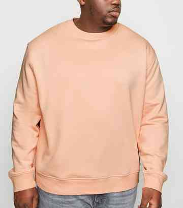 Plus Size Pink Drop Shoulder Crew Sweatshirt