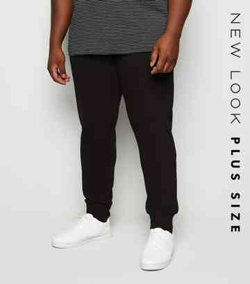 Plus Size Black Cuffed Joggers