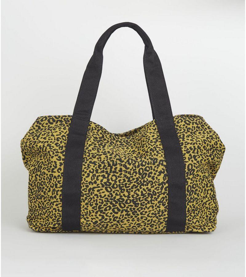 New Look - orange leopard print canvas tote bag - 1