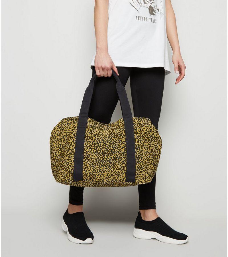 New Look - orange leopard print canvas tote bag - 4