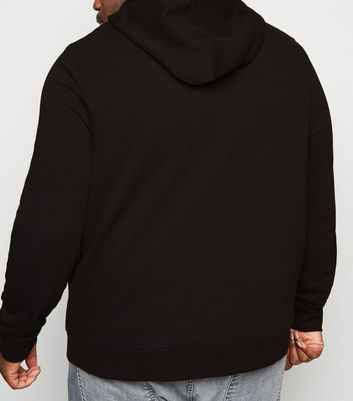 Plus Size Black Pocket Front Hoodie
