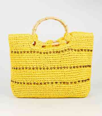 Yellow Straw Effect Beaded Shopper Bag