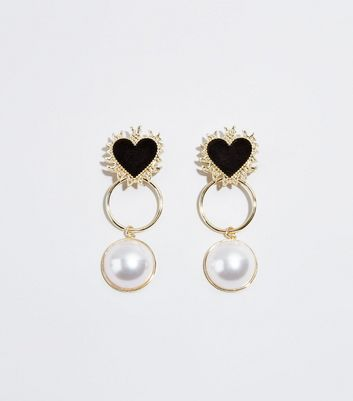 Gold Heart and Faux Pearl Earrings