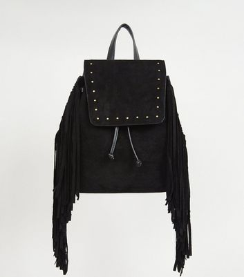 Black Suedette Stud and Fringe Trim Backpack