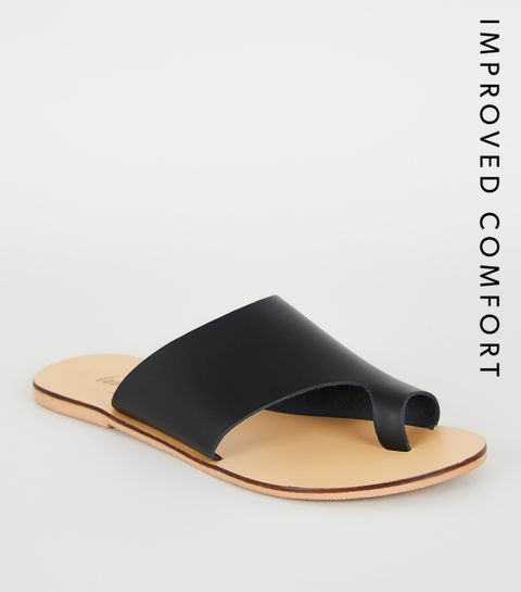 4c49ec875d17 ... Black Leather Toe Loop Sliders ...