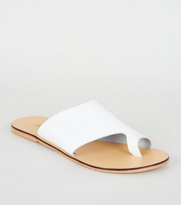 White Leather Toe Loop Sliders