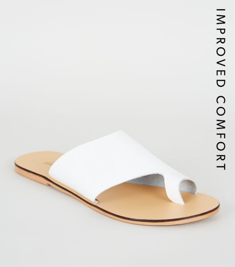 4b89a8fdd ... White Leather Toe Loop Sliders ...