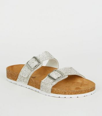 Silver Glitter Footbed Sandals