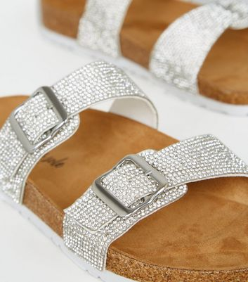 Silver Glitter Footbed Sandals   New Look