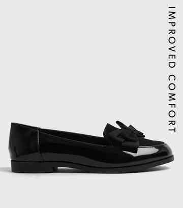 Black Patent Bow Loafers ...