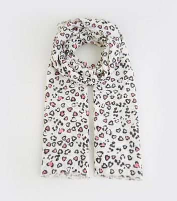 White Leopard Heart Print Sarong