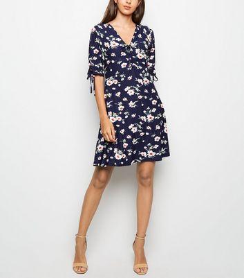 shop for Blue Vanilla Navy Floral Tie Sleeve Tea Dress New Look at Shopo